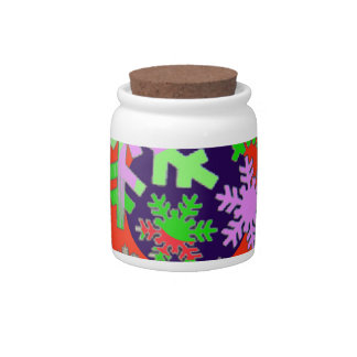 Colorful snow flakes. candy jar