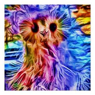 Colorful Snow Owl Perfect Poster