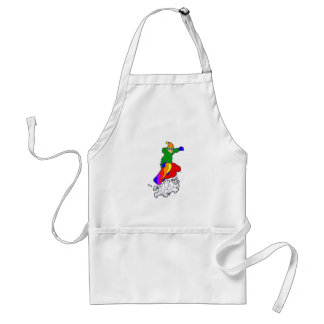 Colorful Snowboarder Adult Apron