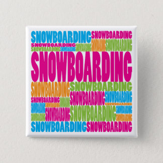 Colorful Snowboarding Pinback Button
