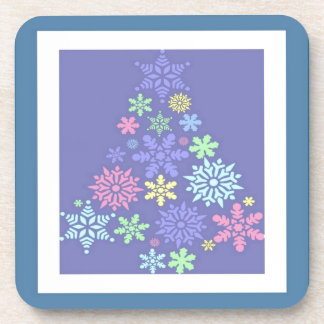 Colorful Snowflake Christmas Tree Drink Coaster