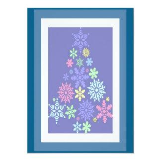 "Colorful Snowflake Christmas Tree 5.5"" X 7.5"" Invitation Card"