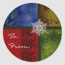 Colorful snowflake gift stickers