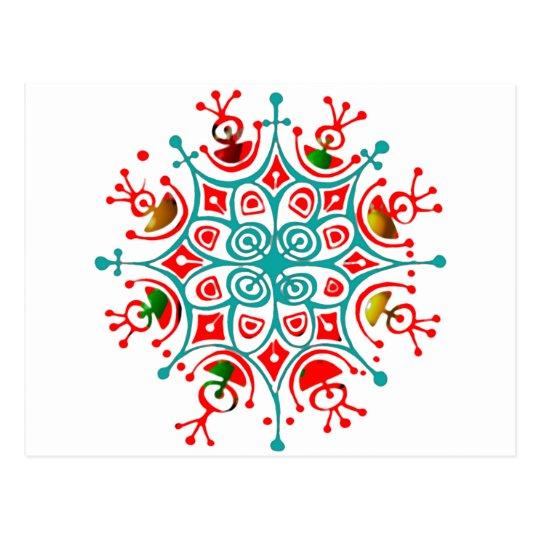 Colorful Snowflake Postcard