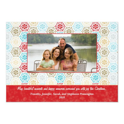 Colorful snowflakes christmas holiday photo card