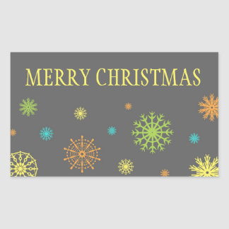 Colorful Snowflakes Merry Christmas Stickers