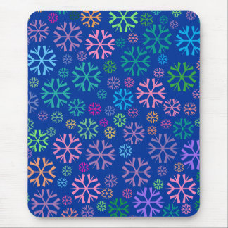 Colorful Snowflakes Pattern on Dark Blue Mouse Pad