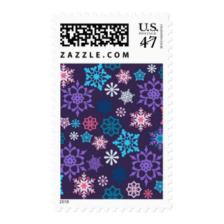 Colorful Snowflakes Pattern Postage