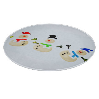 Colorful Snowman Christmas Parade Holiday Cutting Boards