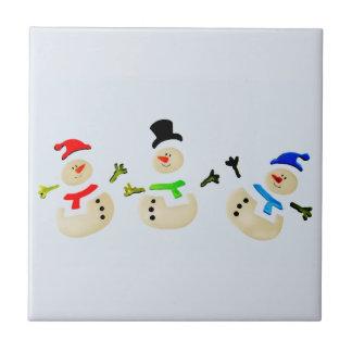 Colorful Snowman Christmas Parade Ceramic Tile