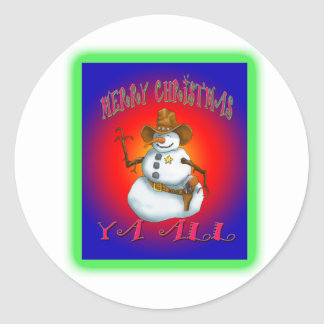 Colorful Snowman design western Howdy Classic Round Sticker