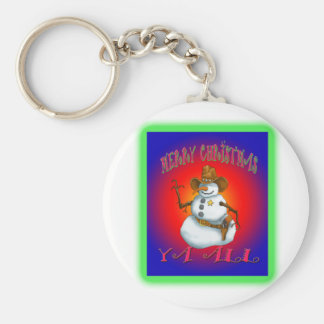 Colorful Snowman design western Howdy Keychain
