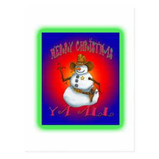 Colorful Snowman design western Howdy Postcard