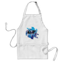 Colorful Snowmiobile Catching a High Drift Adult Apron