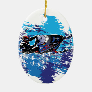 Colorful Snowmiobile Catching a High Drift Ceramic Ornament