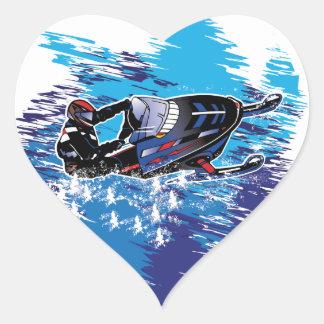 Colorful Snowmiobile Catching a High Drift Heart Sticker