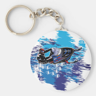 Colorful Snowmiobile Catching a High Drift Keychain