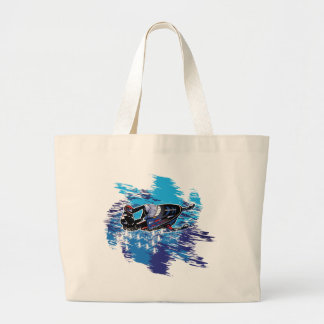 Colorful Snowmiobile Catching a High Drift Large Tote Bag