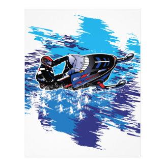 Colorful Snowmiobile Catching a High Drift Letterhead