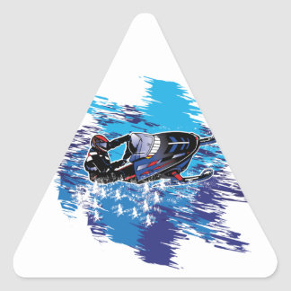 Colorful Snowmiobile Catching a High Drift Triangle Sticker
