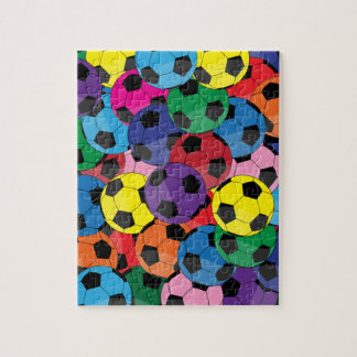 Colorful Soccer Ball Collage Jigsaw Puzzle