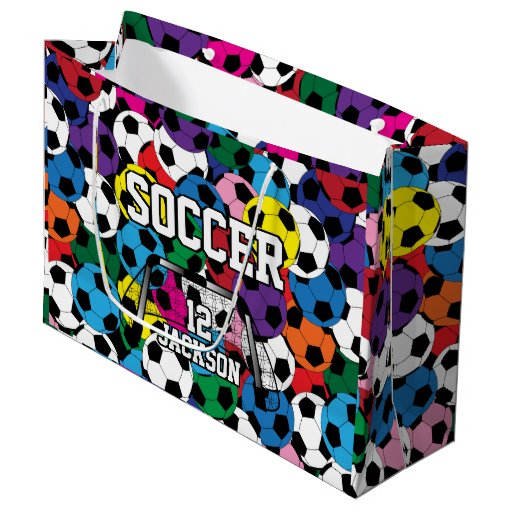 Colorful Soccer Ball Collage Large Gift Bag