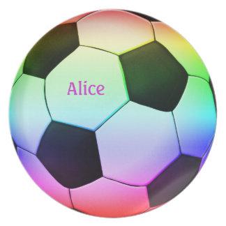 Colorful Soccer Ball (football) Melamine Plate