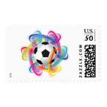 Colorful Soccer Ball Postage