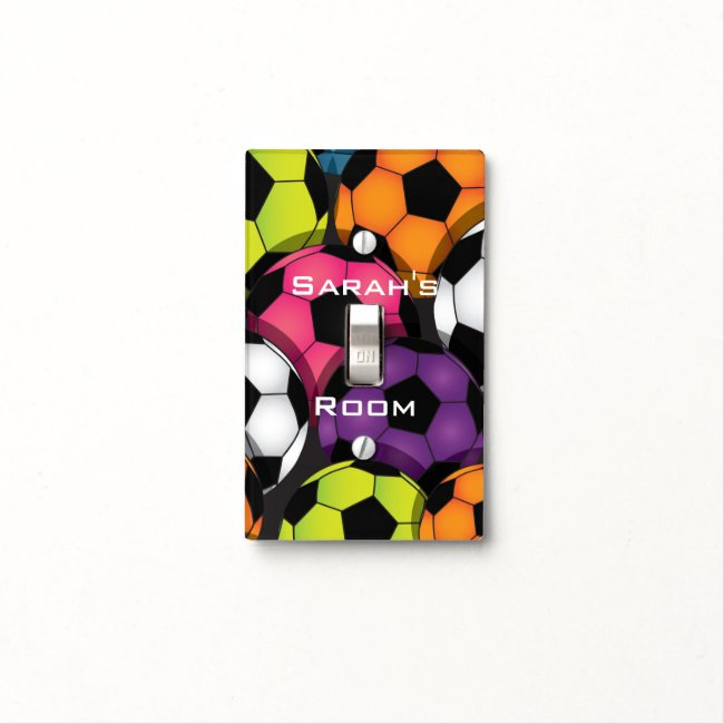Colorful Soccer Balls Design Light Switch Cover