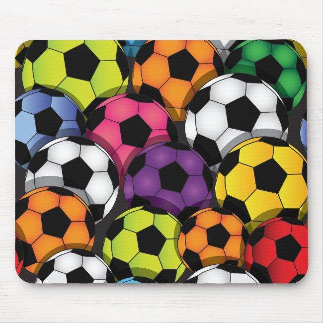 Colorful Soccer Balls Design Mousepad