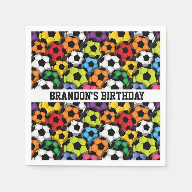 Colorful Soccer Balls Design Paper Napkins