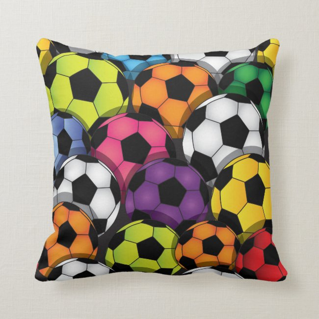 Colorful Soccer Balls Design Throw Pillow