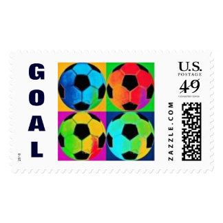 """Colorful Soccer Balls with """"GOAL"""" Postage"""