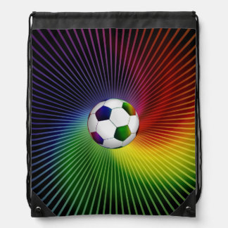 Colorful Soccer | Football Drawstring Backpack