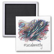 Colorful #socialanxiety Magnet