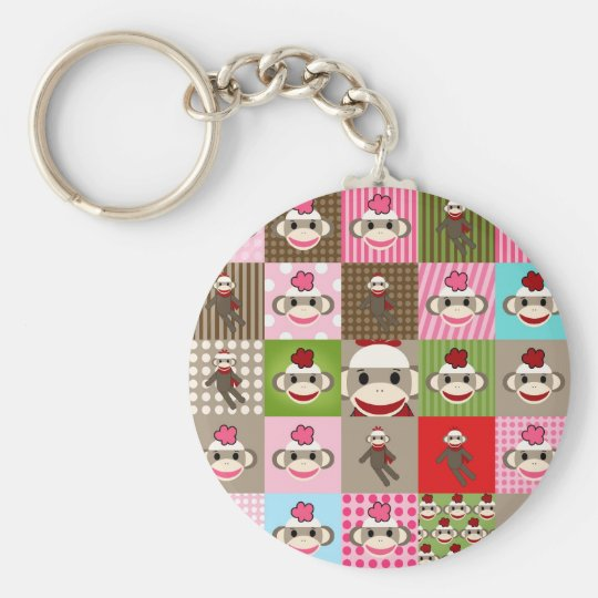 Colorful Sock Monkey Patchwork Keychain