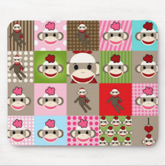 Colorful Sock Monkey Patchwork Mouse Pads