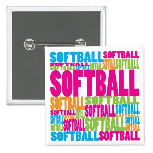 Colorful Softball Pinback Buttons