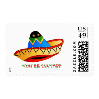 Colorful Sombrero You're Invited Stamps