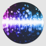 Colorful sound wave design classic round sticker