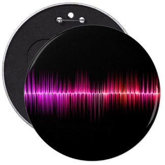 Colorful sound wave design pinback button