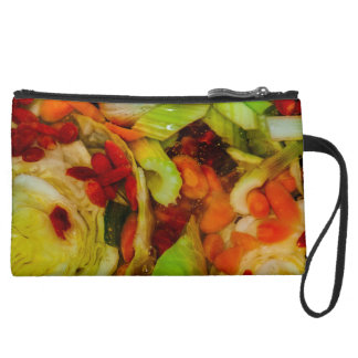 Colorful Soup Abstraction Suede Wristlet