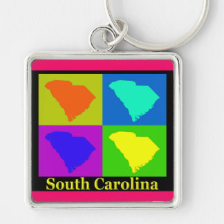 Colorful South Carolina Pop Art Map Keychains