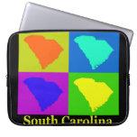 Colorful South Carolina Pop Art Map Laptop Computer Sleeves