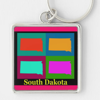 Colorful South Dakota Pop Art Map Silver-Colored Square Keychain