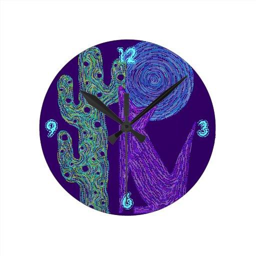Colorful Southwest Coyote Wolf Fun Art Decor Clock