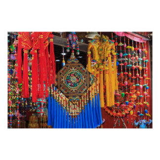 Colorful souvenirs in a shop, China Poster