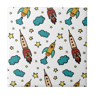 Colorful spaceshuttle in universe tile