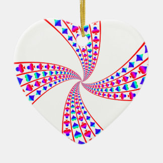Colorful Spades, Hearts, Diamonds, and Clubs Ceramic Ornament