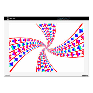 "Colorful Spades, Hearts, Diamonds, and Clubs 17"" Laptop Decal"